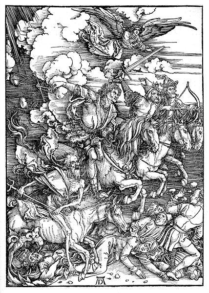 Grabado de Los cuatro jinetes del Apocalipsis de Durero obtenida de la Wikipedia